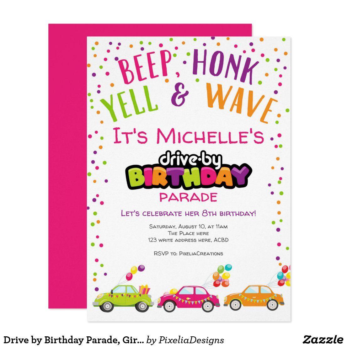 Drive by Birthday Parade, Girl birthday Invitation