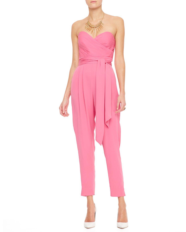 e05501eb98f Catherine Malandrino Favorites Strapless Silk Jumpsuit