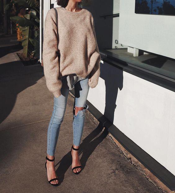 style sweater + Denim + Heels | Fashion, Style, Autumn fashion
