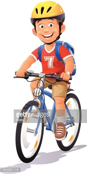A Cheerful Boy With A Cycling Helmet And A Backpack Riding His