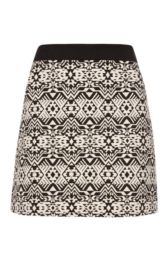 4abc5698f5 ATMOSPHERE PRIMARK Black & White Tribal Print Jacquard Mini Skirt HOT UK 20