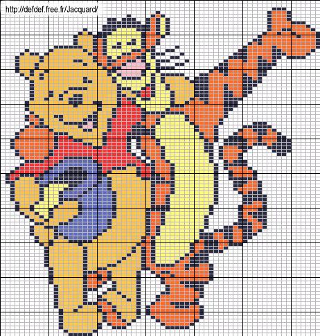 Winnie et tigrou | Modèles de point de croix, Point de croix noel, Point de croix