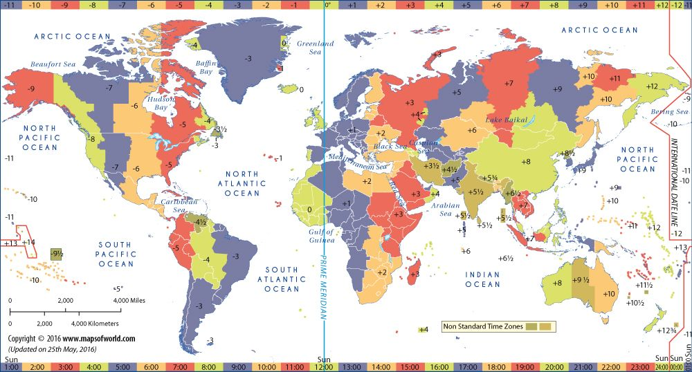 World Time Zone Map | World Maps | World time zones, Time ...