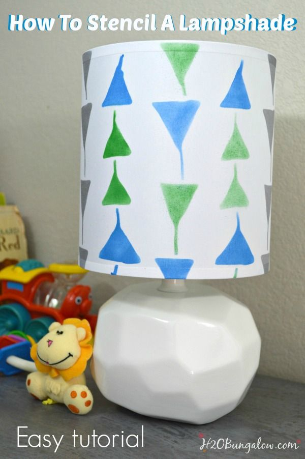 How To Stencil a Lampshade in a few simple steps.  Full tutorial with stenciling tips,  Update an old, tired lamp with a fresh stenciled lampshade!  H2OBungalow #stenciling