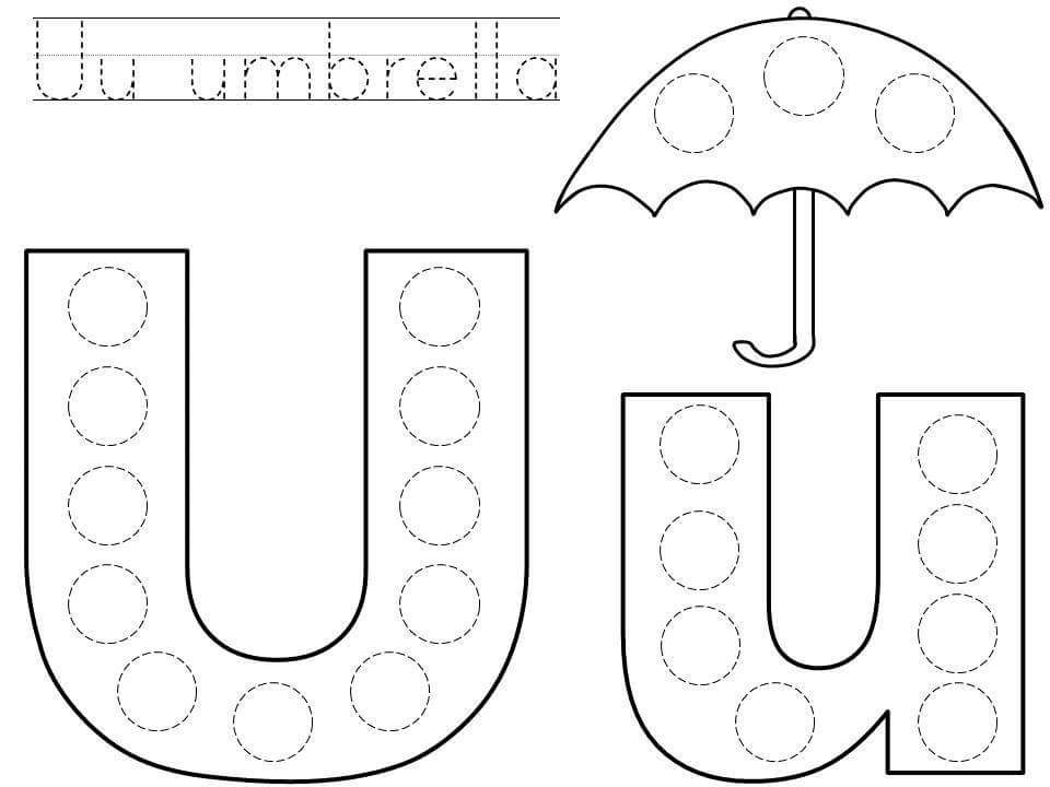 picture relating to Letter U Printable called do-a-dot-letter-u-printable funnycrafts Children Do a dot