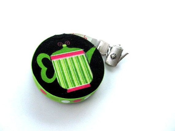 Tape Measure with Tea Pots Measuring Tape by AllAboutTheButtons