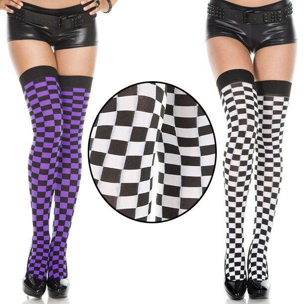 00054c0da Black White Neon Checkered Thigh High Stockings Long Socks Goth Costume  Hosiery Checkered Thigh