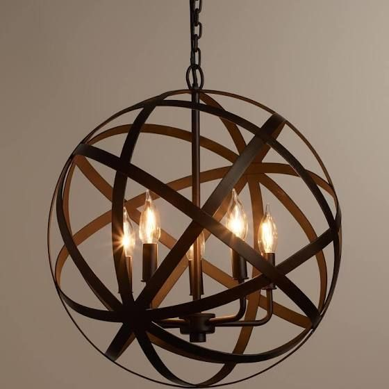 Wooden Sphere Chandelier Orb Chandelier Farmhouse Lighting