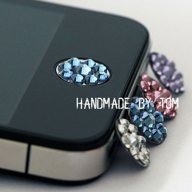 Home button crystal sticker for iphone 4 iphone 4s iphone 5 cell phone adornment charm case