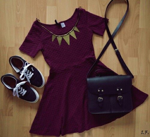 Burgundy Skater Dress with Black Vans and Gold Triangle Statement Necklace
