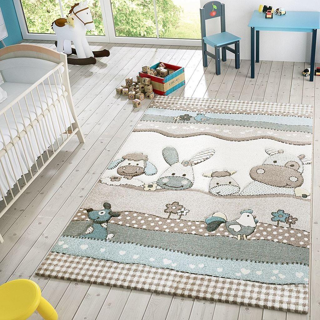 Kinder Teppich Moderner Spielteppich Bauernhof Tiere