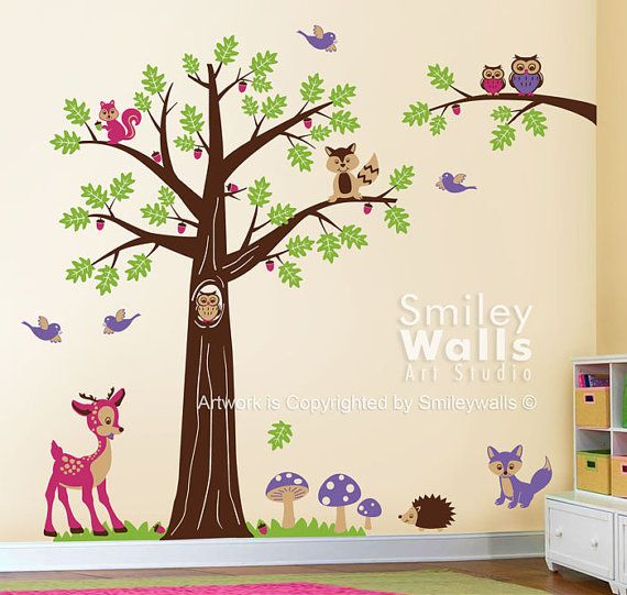 Nursery Wall Decal Woodland Wall Decal Forest Animals Wall Decal