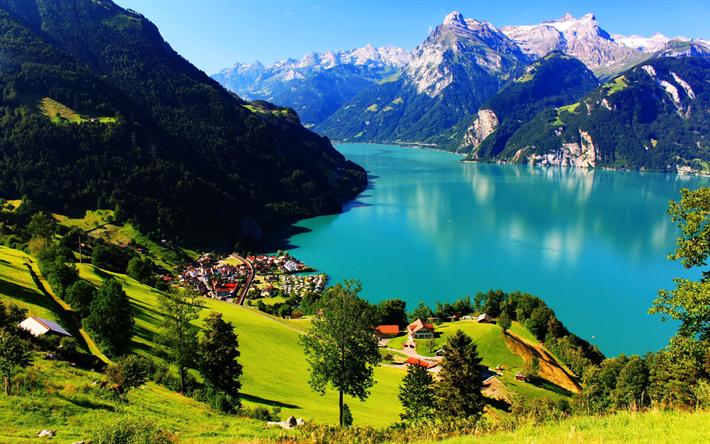 Lataa kuva Sveitsi, 4k, Sveitsin Alpeilla, mountain lake, kesällä, vuoret, Euroopassa, Alpeilla