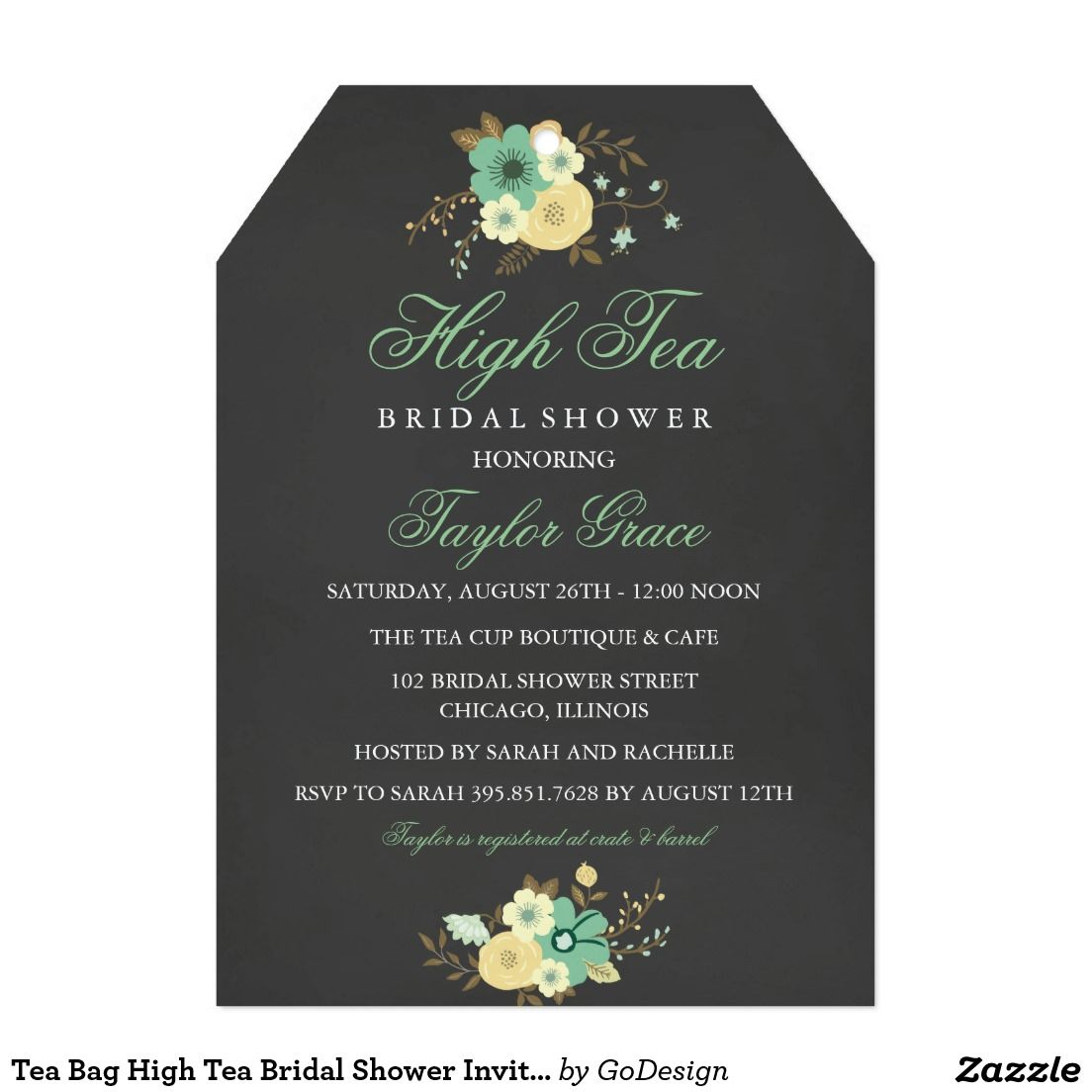 Tea Bag High Tea Bridal Shower Invitation | Pinterest | Tea bridal ...