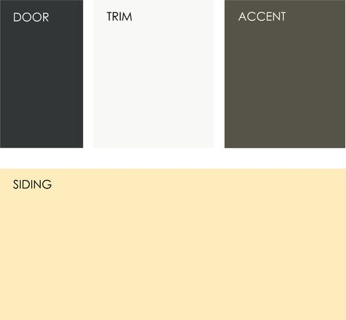 Example palette: Get a similar look with (clockwise from top left, all from Sherwin-Williams): Greenblack SW6994, Alabaster SW7008, Roycroft Bronze Green SW2846, and Classical Yellow SW2865. #greenblacksherwinwilliams
