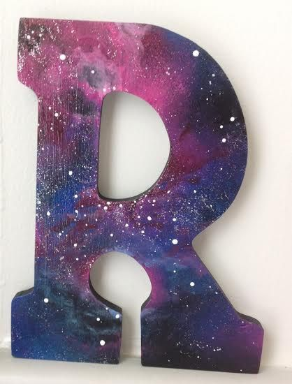 custom hand painted galaxy wood letter approximately 9 inches tall