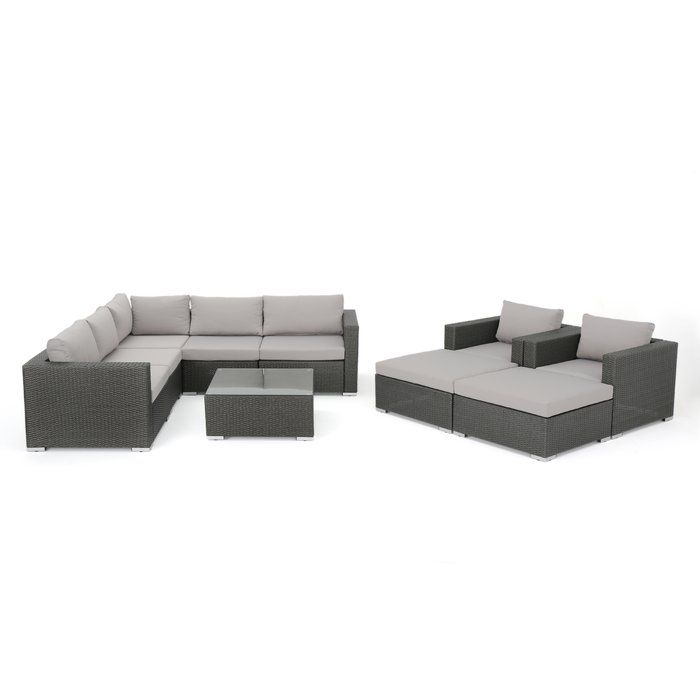 Cabral 10 Piece Sectional Seating Group With Cushions Grey Sectional Sofa Wicker Sectional Outdoor Sofa Sets