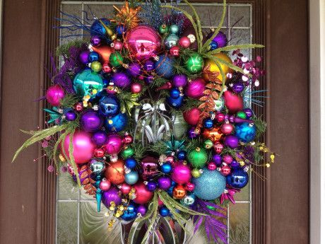 Decorating Wreath With Christmas Balls Christmas  Eyecatching Colorful Christmas Balls Wreath Idea