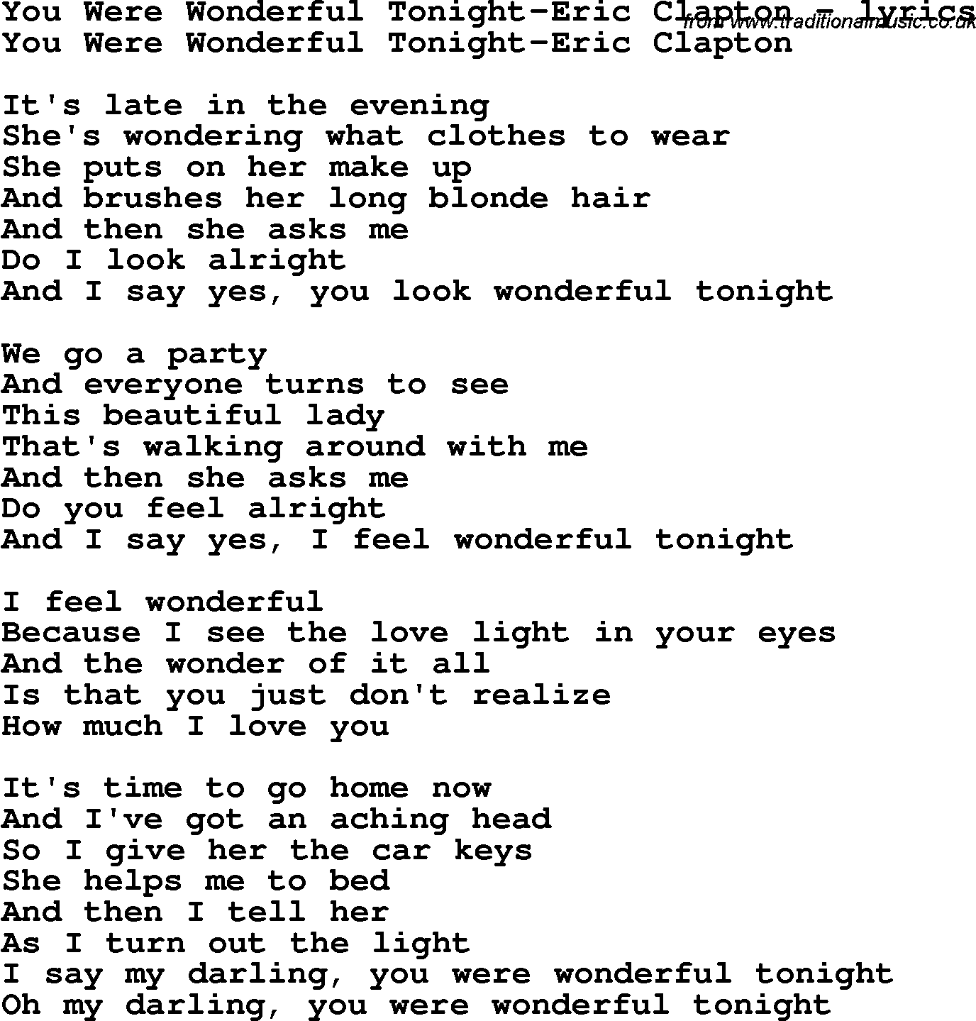Wonderful Tonight Lyrics