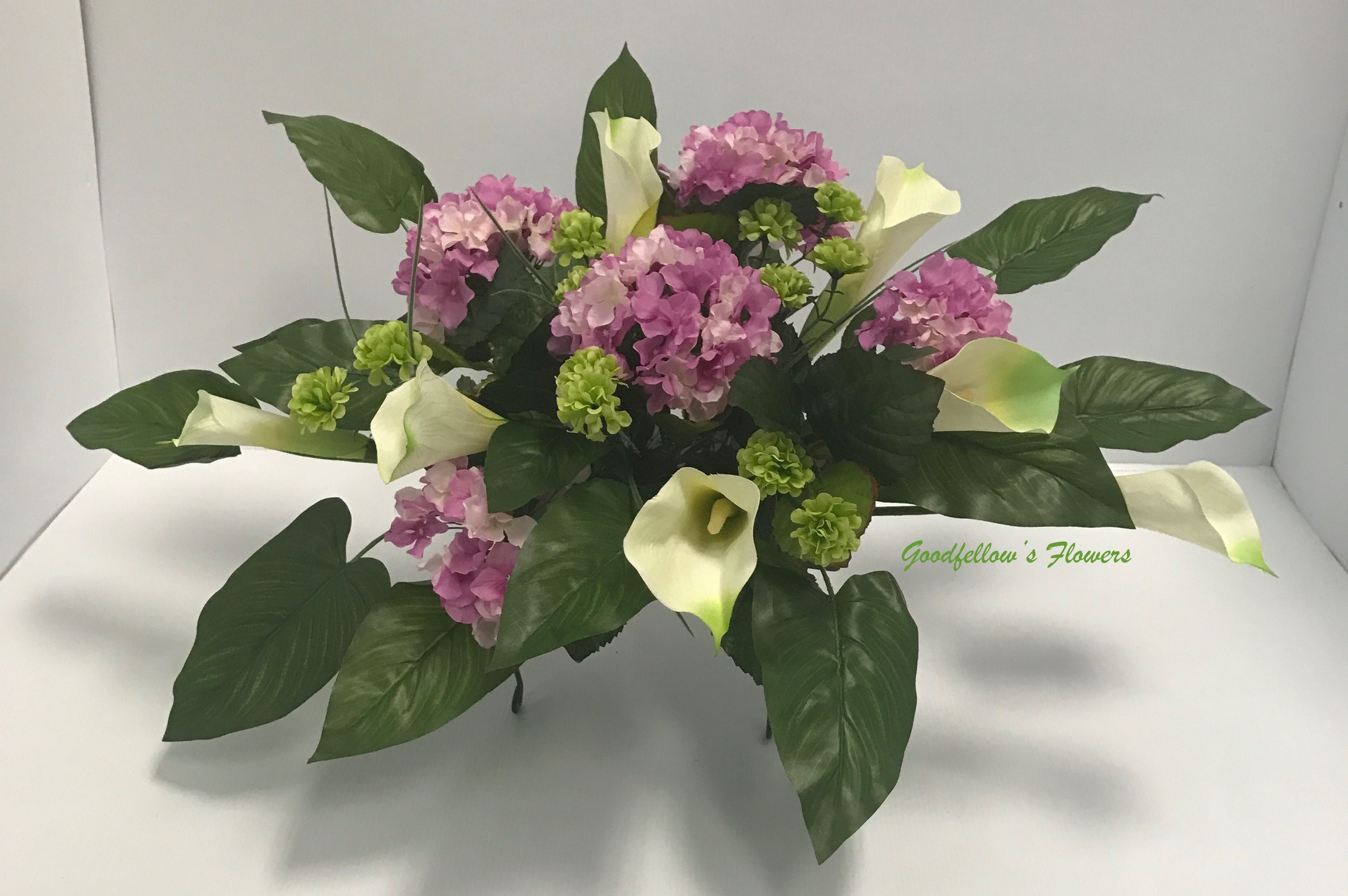 Purple, White & Green Hydrangeas, Calla Lilies, Carnation Cemetery Headstone