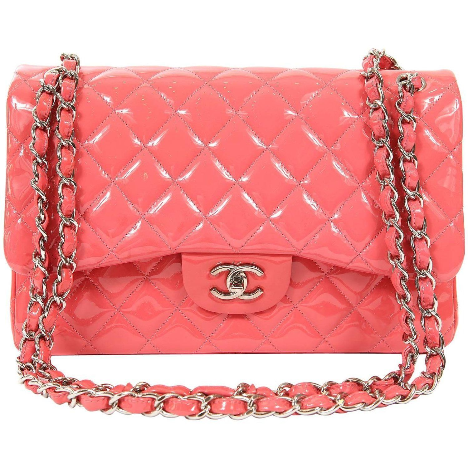 c17cbae2abba Chanel Pink Patent Leather Double Flap Jumbo Classic Bag with SHW For Sale  at 1stdibs