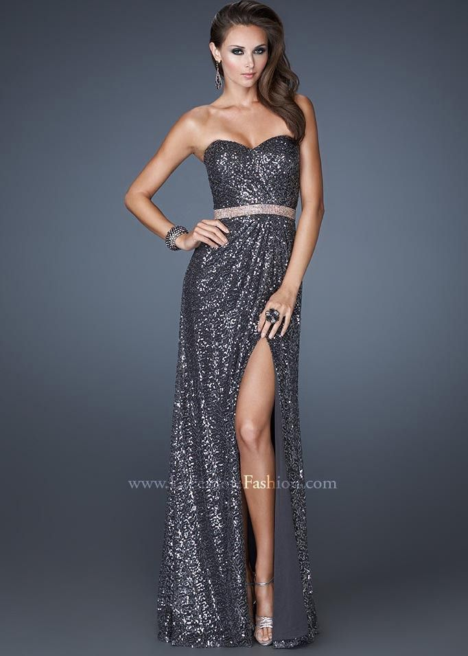 250b3c2569196 GORGEOUS Charcoal Gray Strapless Sweetheart Sequin Gown with a Sexy High  Slit - Prom Dresses 2013 - La Femme 18918 - RissyRoos.com