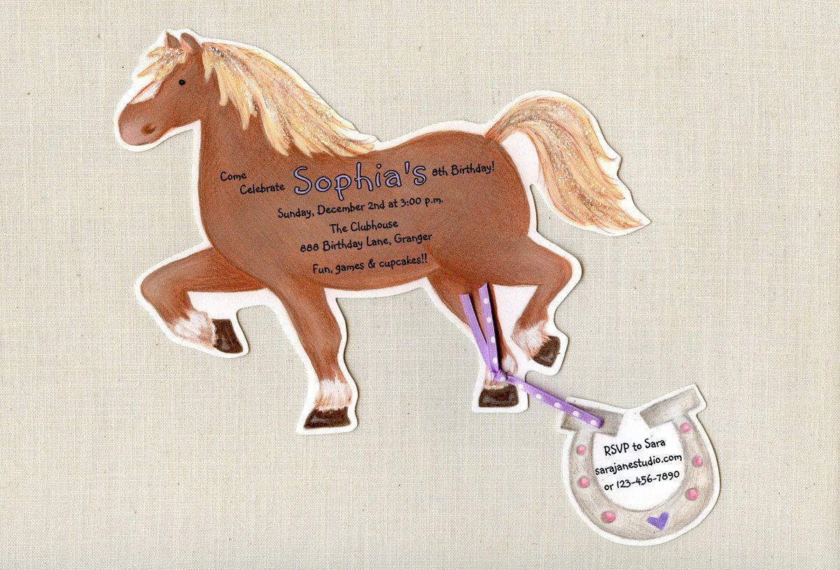 10 horse birthday party invitations handcut personalized - Horse Party Invitations