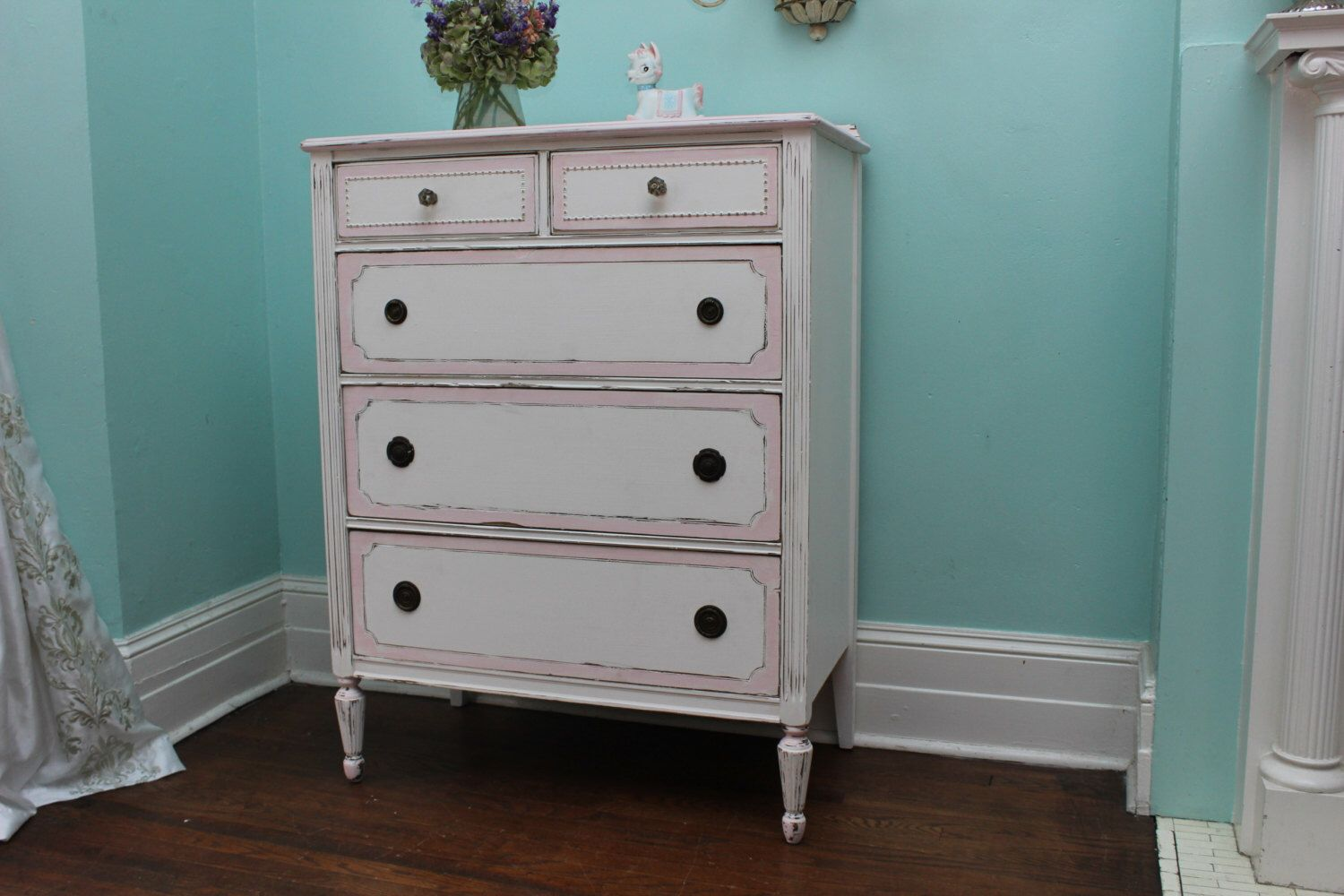 pink shabby chic furniture. Custom Order Antique Dresser Shabby Chic Pink White Distressed Vintage Cottage Prairie Sold By Furniture E