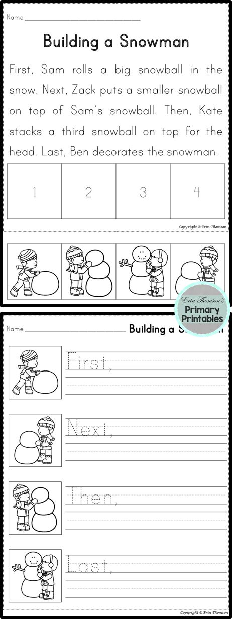 Printable Worksheets esl sequencing worksheets : Sequencing Story ~ Building a Snowman (First, Next, Then, Last ...