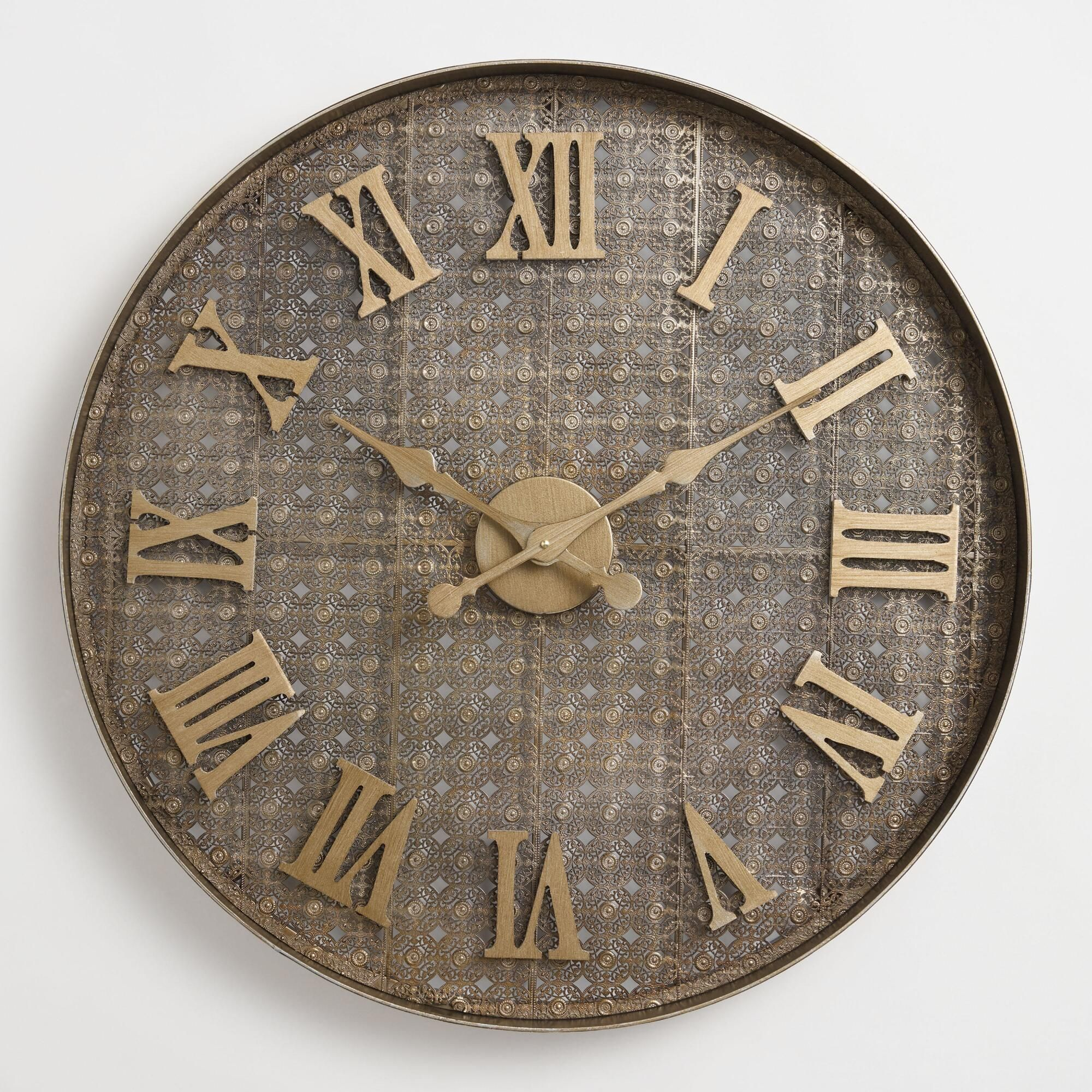 6814de8a56b0 Round Brass Filigree Wall Clock by World Market in 2019 | Products ...