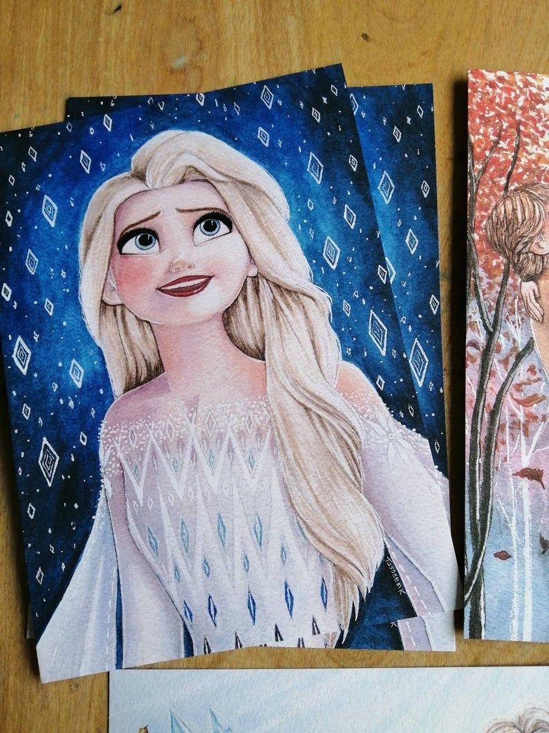 Original Disney Frozen 2 Watercolour Elsa Anna Kristoff Fine Art Print Home Decor Gift Elsa Show Yourself Into The Unknown Fifth Spirit Nokk In 2021 Disney Canvas Art Disney Canvas Disney Canvas Paintings