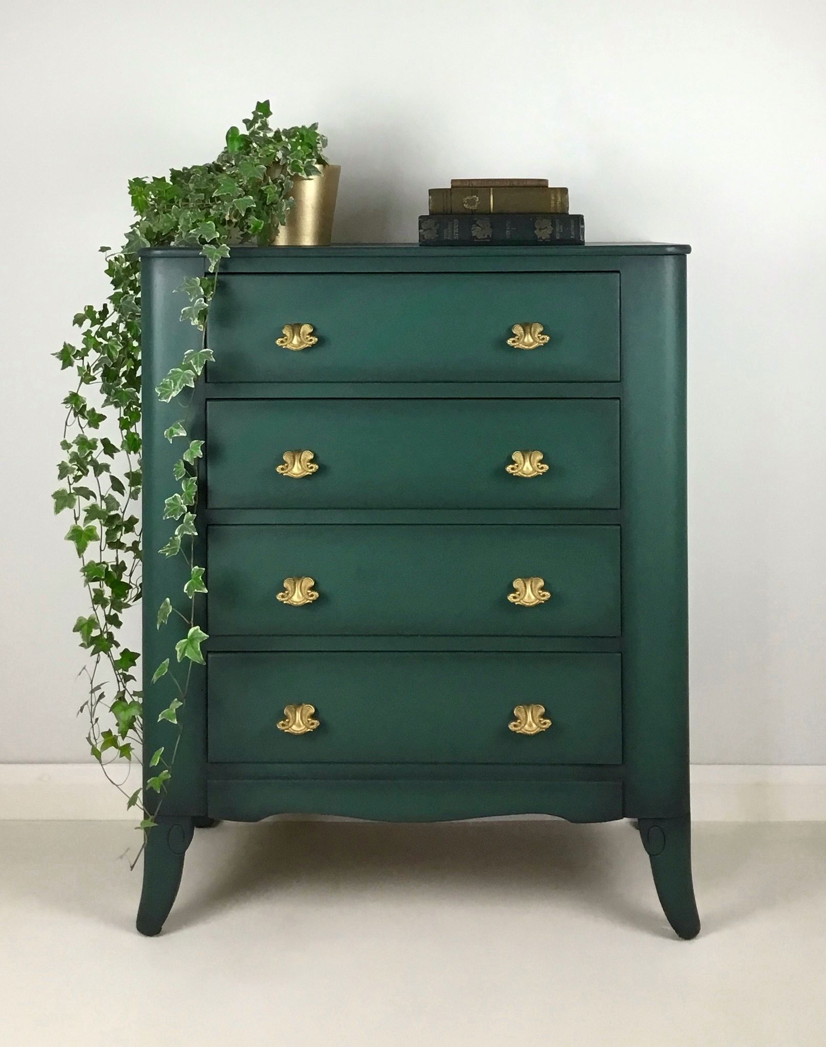 Vintage Painted Lebus Chest Of Drawers Green In 2021 Green Painted Furniture Gold Painted Furniture Revamp Furniture [ 2045 x 1613 Pixel ]