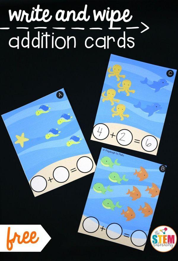 Write and Wipe Addition Cards | School | Pinterest | Mathematik ...