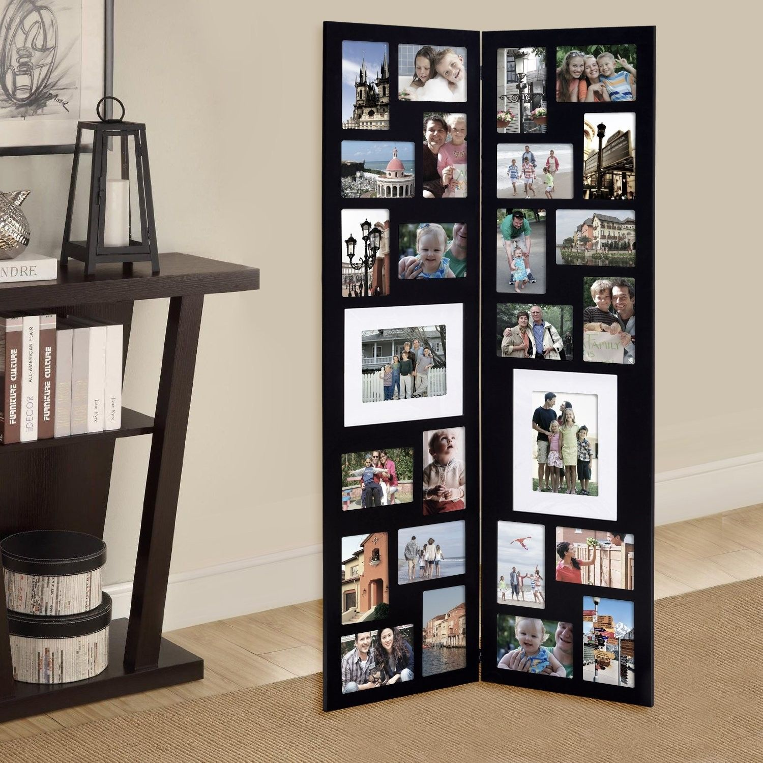 26 Opening Decorative Wood Folding Floor Standing Photo Collage Picture Frame Picture Frames Collage Picture Frames Wood Decor