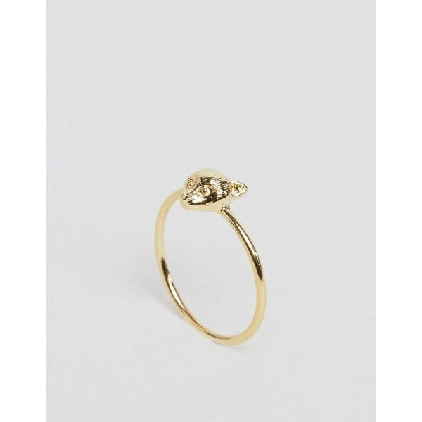 Orelia Gold Plated Fox Head Ring 8 liked on Polyvore featuring