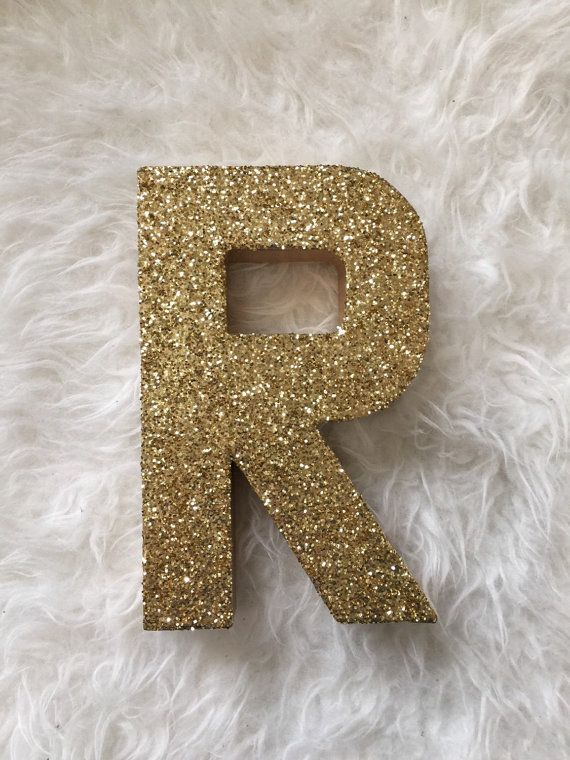 gold glitter stand up letter r initial monogram by zoeyelisa