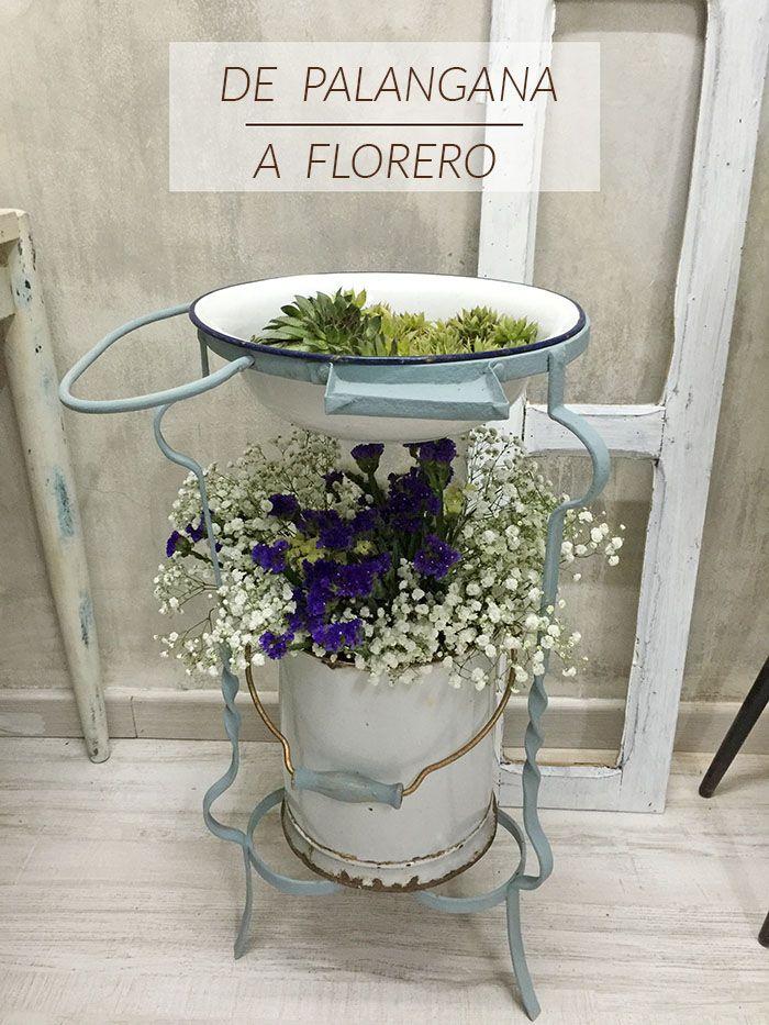 Palangana antigua reconvertida en florero diy - Cosas antiguas para decorar ...