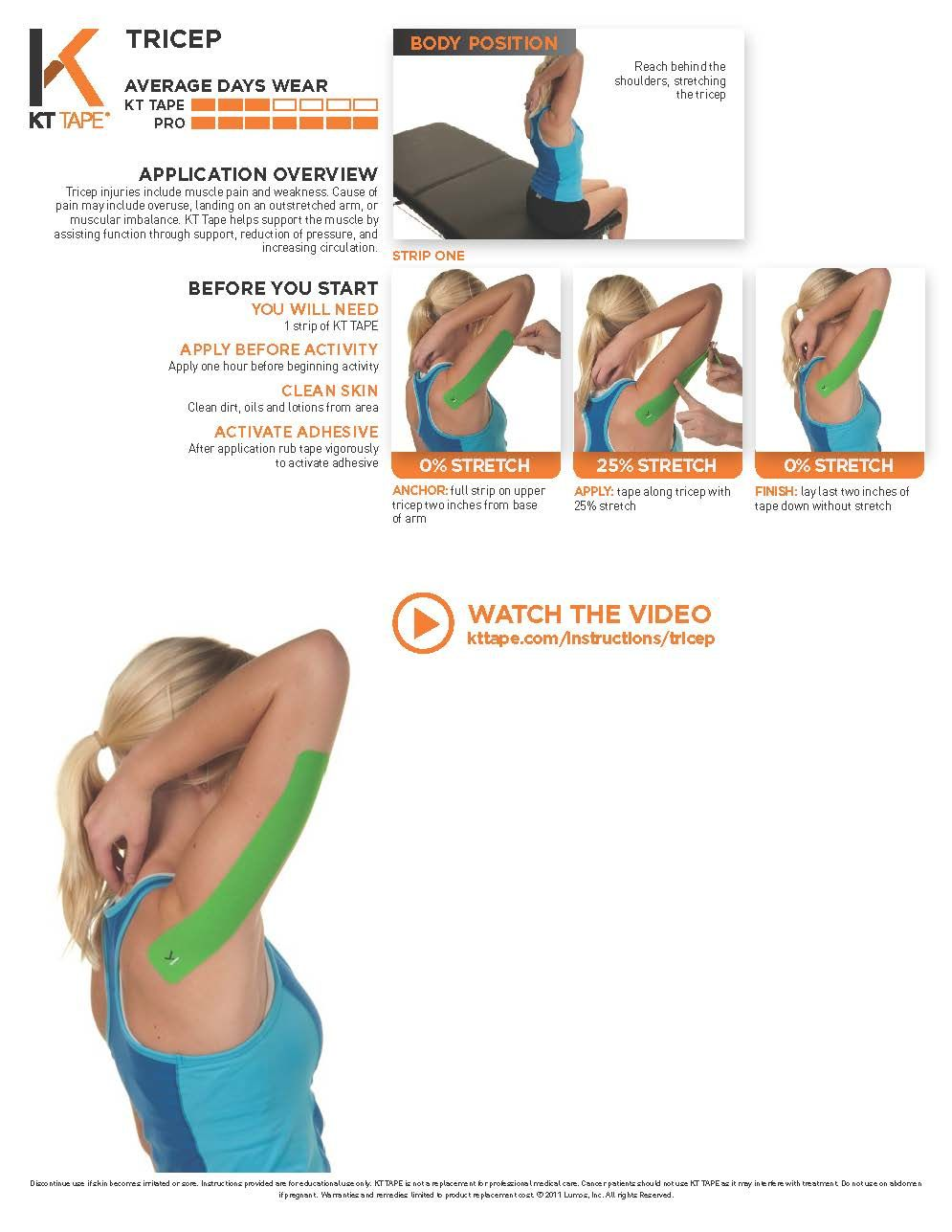 Tricep Kt Tape Helps Support The Muscle By Assisting Function Through Support Reduction Of Pressure And Increasing Ci Kinesiology Taping Tape Kinesio Taping