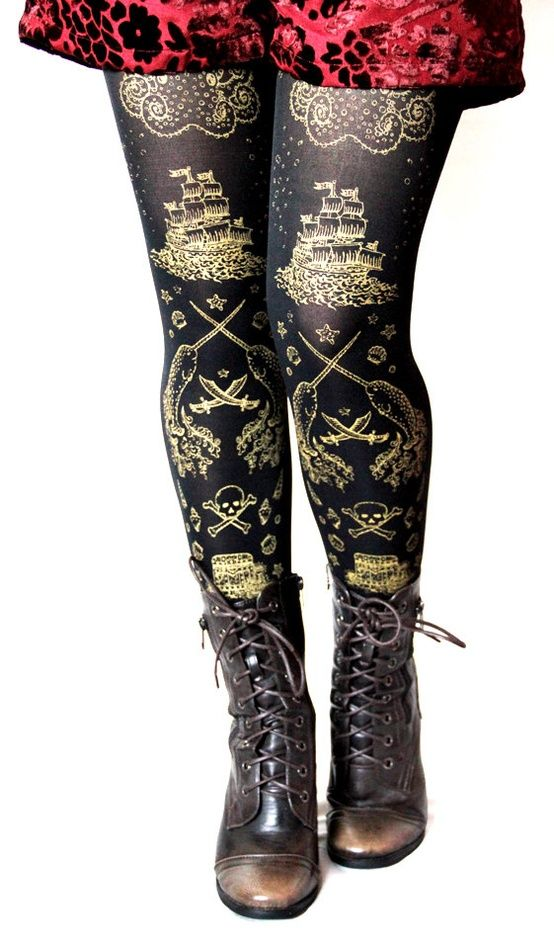 pirate printed tights medium large gold on royal purple women maritime nautical octopus narwhal. Black Bedroom Furniture Sets. Home Design Ideas