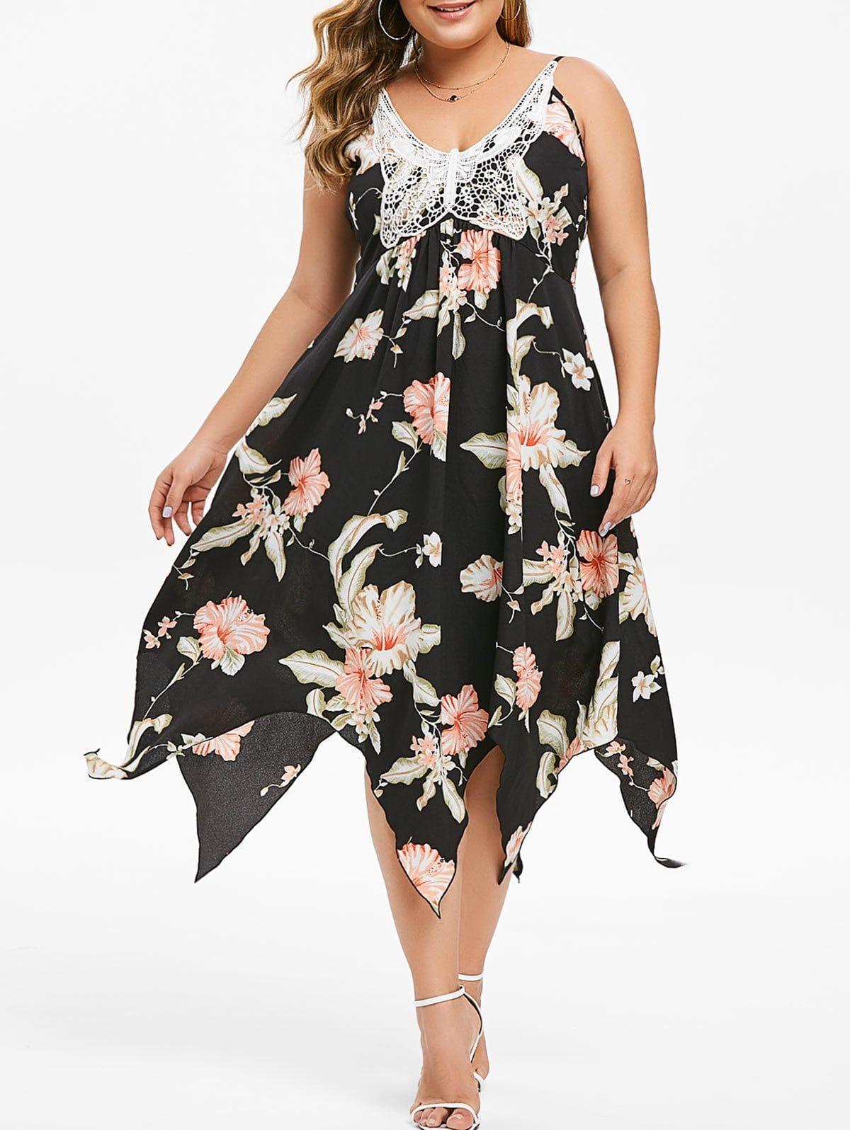 Plus Size Butterfly Lace Handkerchief Floral Dress 5x Lace Handkerchief Dress Feather Print Dress Dresses [ 1596 x 1200 Pixel ]