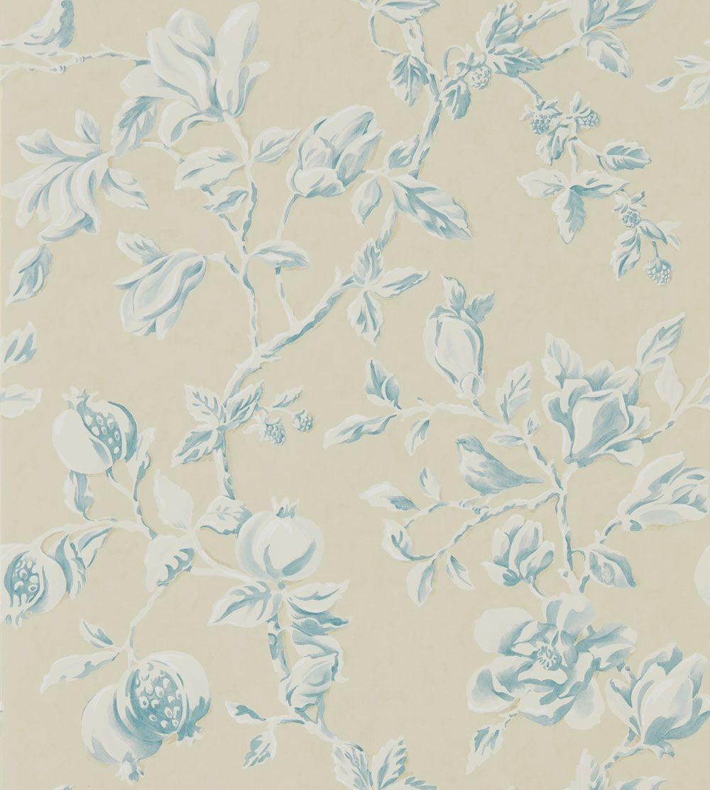 Magnolia & Pomegranate Parchment and Sky Blue wallpaper by Sanderson
