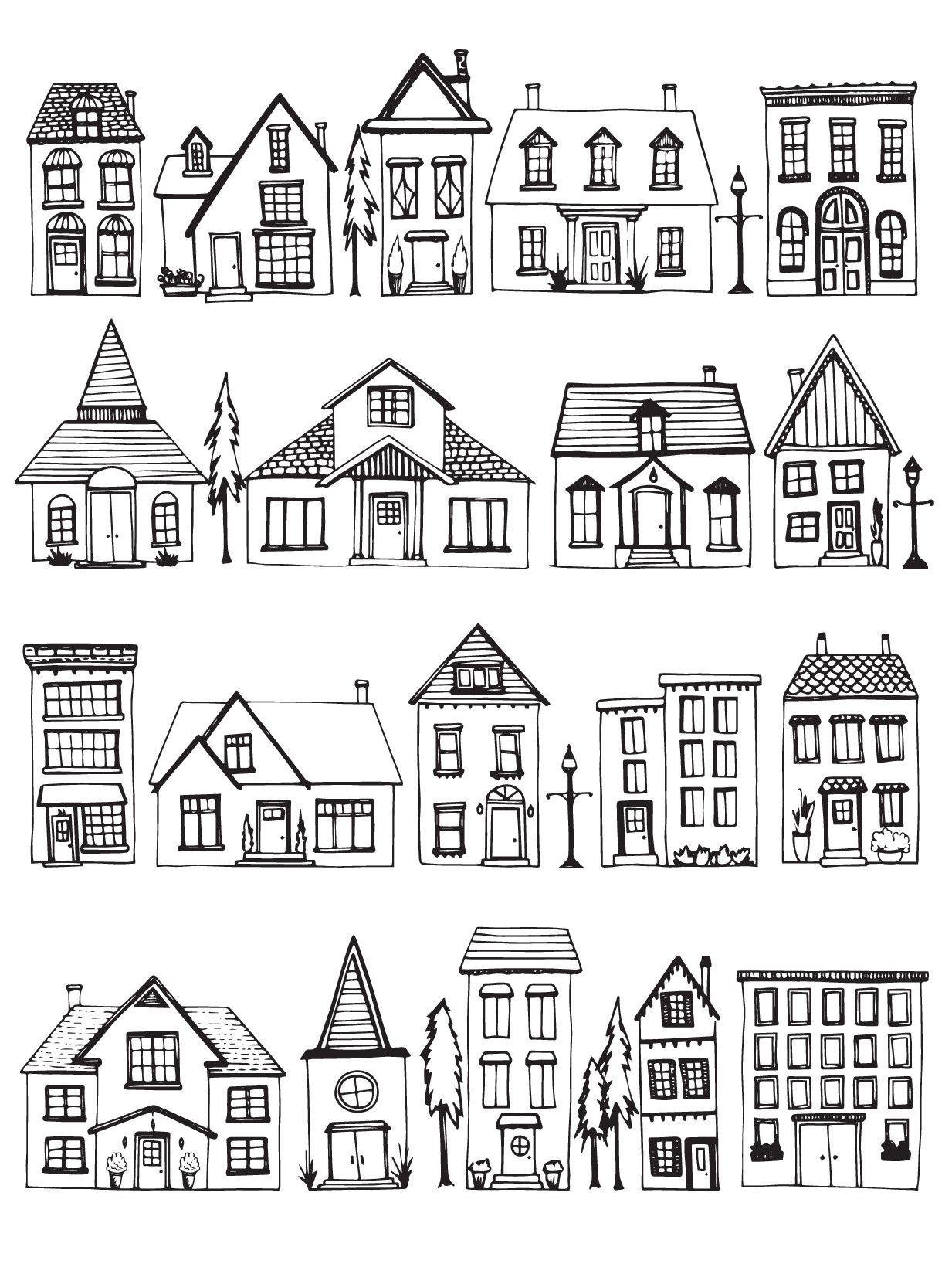раскраски города много разных домиков и коттеджей