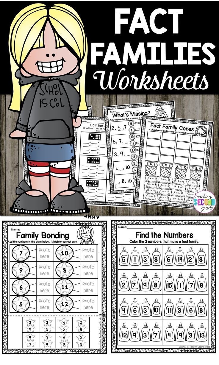 Fact Families   Fact families, Fact family worksheet ...