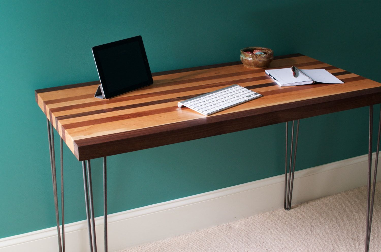 Buy hand crafted mid century modern desk featuring a maplemahogany and walnut wood top