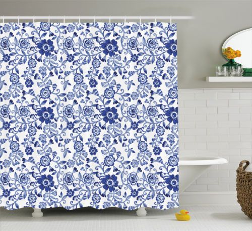 Watercolor Shower Curtain Vibrant Blue Flowers Print For Bathroom 75 Inches Long