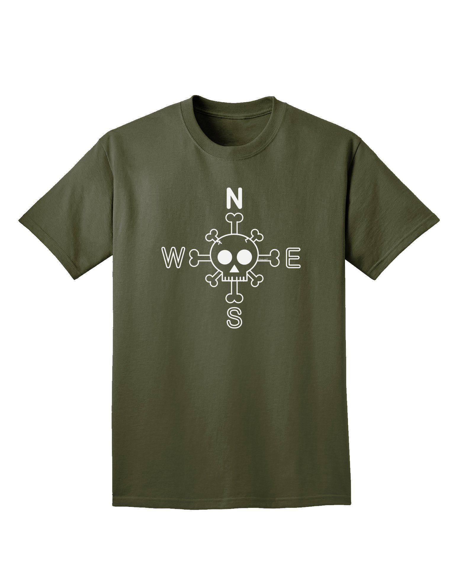 Compass rose skull and crossbones adult dark tshirt compass