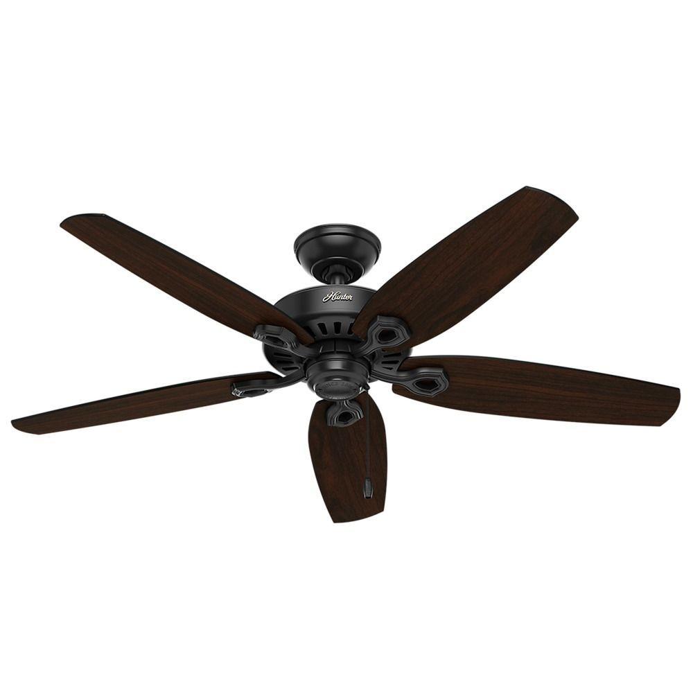 Hunter Fan Company Builder Elite Damp Matte Black Ceiling Fan Without Light Ceiling Fans Without Lights Ceiling Fan Bronze Ceiling Fan