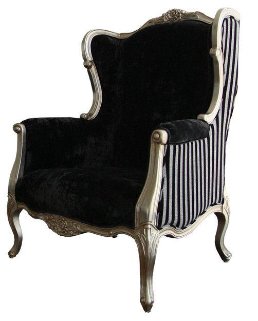 #victorian Rethought #fashion #design #chair Modern Victorian Chair Black  White Stripes