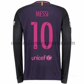 Camisetas De Futbol Barcelona Messi 10 Segunda Equipación Manga Larga  2016-17 bf91c8e1d98c4