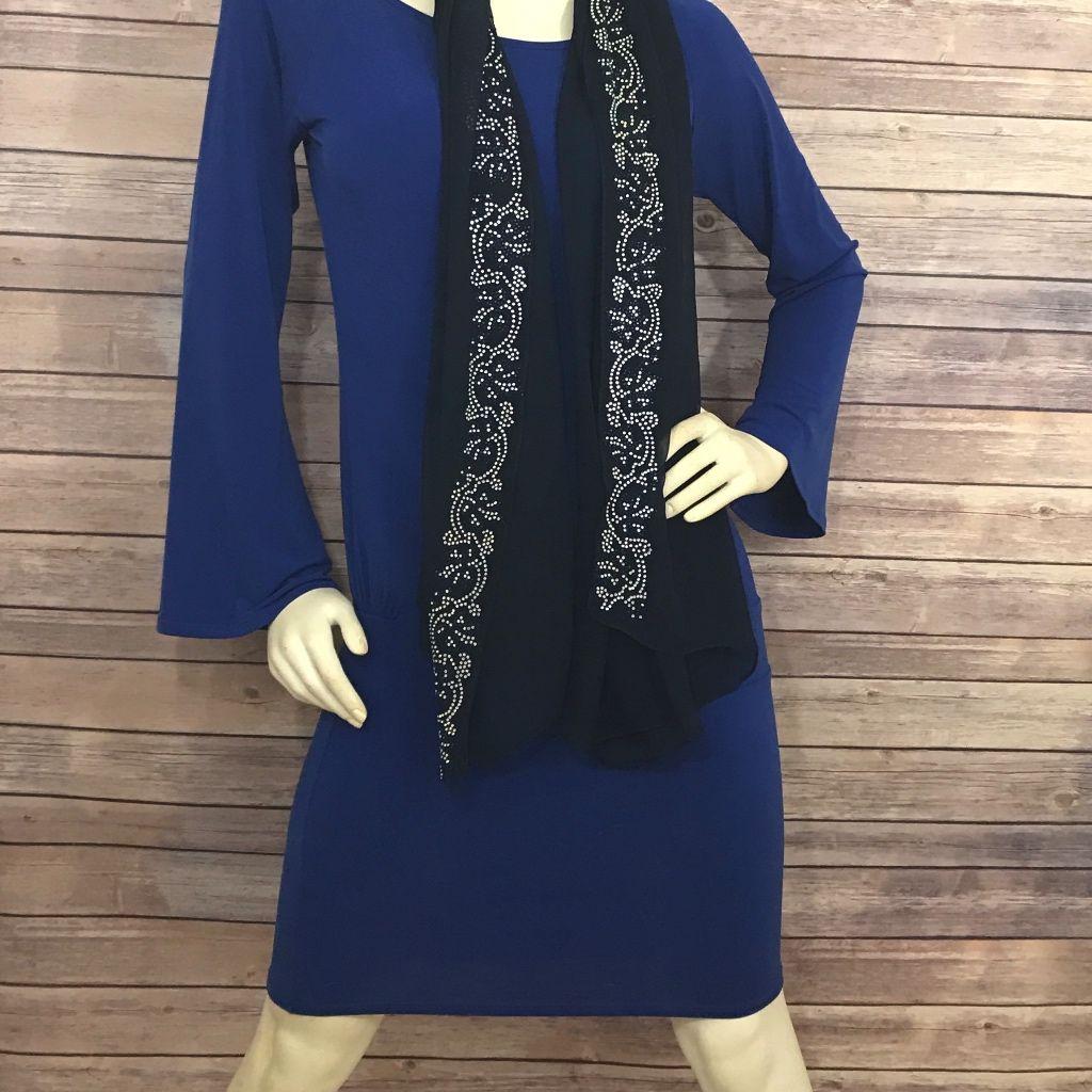 Moda international royal blue long sleeve dress blue long sleeve